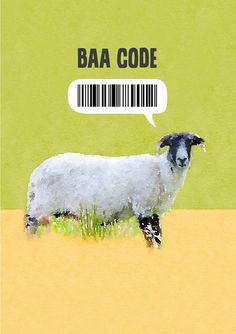 A sheep sideways on against a sand and green plain background and a bar code label above it and text 'Baa Code' Barcode Labels, Plains Background, Card Designs, Sheep, Card Stock, Greeting Cards, Coding, Prints, Animals