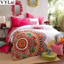 Memorecool Home Textile Ethnic Country Style Thicken Brushed Bedding Set Colorful Bohemian Duvet Covers Elegant Flounce Design Bed Sheets