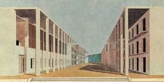 Drawing of the student housing in Chiety, Italy by Grassi, Monestroli and Raffaele Conti. Classical architectural elements (collonade) forming the street facades as reaction against the formless, left-over urban space of modernist building.