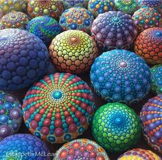 Mandala decorated rocks, art by Elspeth McLean
