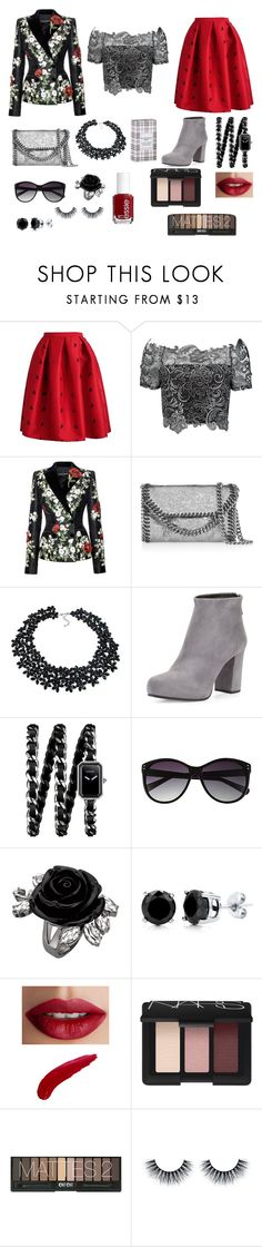 """""""Burberry and Poppy"""" by dontkaitlyn ❤ liked on Polyvore featuring Dolce&Gabbana, STELLA McCARTNEY, AeraVida, Prada, Chanel, Vince Camuto, BERRICLE, Essie, TheBalm and NARS Cosmetics"""