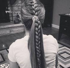 16 Braided Ponytails Every Cool Girl Will Be Wearing This Summer is part of braids - Prepare for fireworks Thanks to sultry braids, twists, and knots, these sizzling summer styles aren't your average ponytail Soccer Hairstyles, Athletic Hairstyles, Sporty Hairstyles, Hairstyles For School, Prom Hairstyles, Ponytail Hairstyles With Braids, Cute Cheer Hairstyles, Hairstyles Videos, Homecoming Hairstyles
