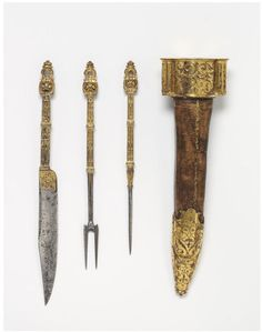 Cutlery set Place of origin:France (made) Date:1550-1600 (made) Artist/Maker:Unknown (production) Materials and Techniques:[knife (culinary tool)] Steel, iron-gilt  [Fork] Steel, iron-gilt Credit Line:Salting Bequest Museum number:M.602 to C-1910 Gallery location:Medieval and Renaissance, room 62, case 11 V&A Images