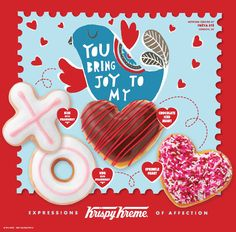Love is in the air. Share your Ice Heart, Krispy Kreme, Love Days, Share The Love, Love Valentines, Doughnuts, Sprinkles, Food And Drink, Joy