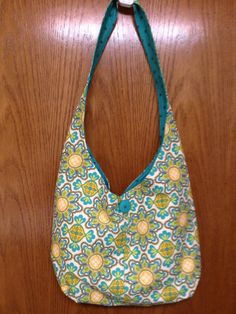 Handmade Cotton Hobo / Sling Bag / Turquoise and by junkjunkie1959, $25.00