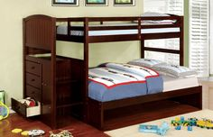 Furniture of America Bismarck Bunk Bed with Built-in Staircase and Drawers, Brown
