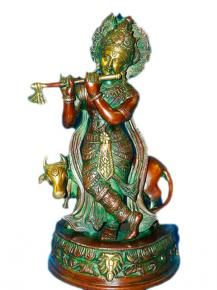 Lord Krishna Brass Figurines Hindu Religious Sculpture 13 Inch by Mogul… Krishna Statue, Lord Krishna, Indian Bedding, Hindu Deities, Hinduism, Brass Statues, India Art, Stone Sculpture, Cool Landscapes