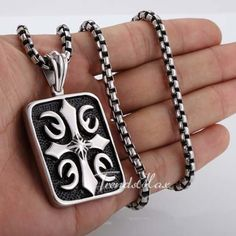 Cross Tag Pendant Black Silver Tone 316 L Stainless Steel Necklace Match 22 inch Box Chain