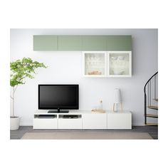 BESTÅ Combinaison rangt TV/vitrines - Lappviken vert/Sindvik blanc verre transparent, glissière tiroir, fermeture silence - IKEA