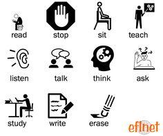 School Verbs - Picture Vocabulary Worksheets   EFLnet