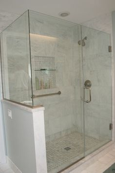Master Bathroom Knee Wall elegant neutral bathroom renovation | subway tiles, mosaics and glass
