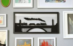 The Train Brawlers 9 x19 hand cut paper by JessicaAlpern on Etsy,   Boys room
