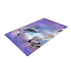 East Urban Home Ancello Abstract Horse Purple/Blue Area Rug Rug Size: 2' x 3'