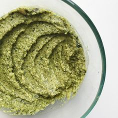 Homemade kale pesto hummus: gluten, dairy, soy, and grain free with fresh herbs and a serving of vegetables!