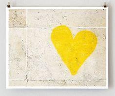 Paris Graffiti Yellow Heart Wall Art Yellow by Little Brown Pen modern artwork
