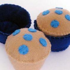 LittleChoux.com - Blueberry Muffins Felt Food