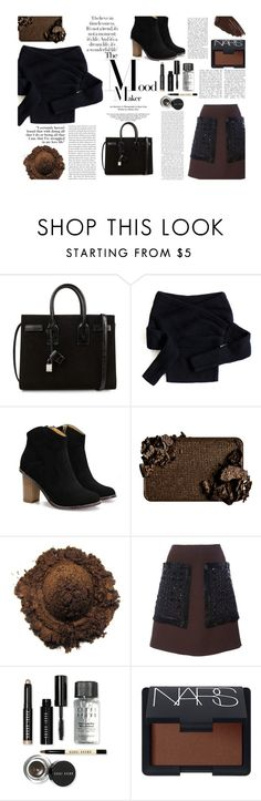 """""""Poly Tote Contest"""" by juliehalloran ❤ liked on Polyvore featuring Yves Saint Laurent, Chicwish, Marni, Bobbi Brown Cosmetics, NARS Cosmetics, Burberry, women's clothing, women, female and woman"""