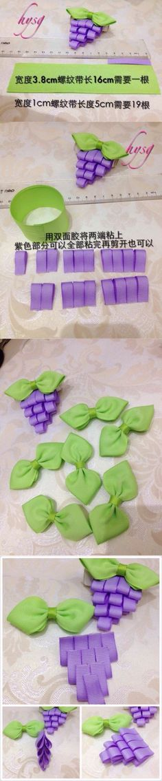 Discover thousands of images about Grapes Ribbon Art, Diy Ribbon, Ribbon Crafts, Flower Crafts, Ribbon Bows, Felt Flowers, Diy Flowers, Fabric Flowers, Hair Ribbons