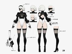 NieR:Automata Concept Art Gallery Gallery of captioned artwork and official character pictures from NieR:Automata. Female Character Concept, Character Model Sheet, Character Modeling, Character Art, Fantasy Characters, Female Characters, Neir Automata, Concept Art Gallery, Accel World