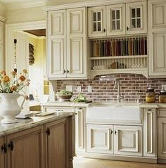 Love this brick backsplash for kitchen, match to brick in archway (see living/dining board) and more brick on walls in kitchen area