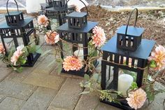 Lantern Arrangements by Carithers Weddings www.carithers.com