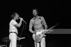 Drummer Keith Moon (L) and lead guitarist Pete Townshend (R) of the English rock band The Who performing live at Madison Square Garden in New York City on June 14, 1974.