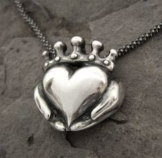 Claddagh Necklace - NEW Antique finish - Solid Sterling Silver - Chain Included - Celtic - Irish Promise - Love - Faith - Rickson Jewellery. $165.00, via Etsy.