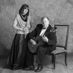 Duo Sequenza, Debra Silvert, Paul Bowman, Flute, Guitar, Classical Music, Chamber Music, Black and White