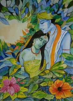 Radha Krishna- Amalgamation of the Soul- Piyali Mitra Water colour painting in handmade paper.