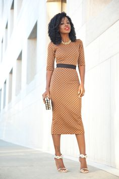 Diamond Print Midi Dress