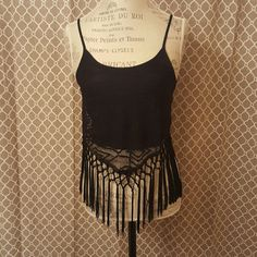 Gorgeous black fringe tank Gorgeous black fringe tank. 50%cotton 50%nylon.  Super cute and comfy! Price is firm unless bundled  boutique Tops Tank Tops
