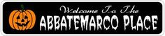 ABBATEMARCO PLACE Lastname Halloween Sign - Welcome to Scary Decor, Autumn, Aluminum - 4 x 18 Inches by The Lizton Sign Shop. $12.99. Great Gift Idea. Rounded Corners. 4 x 18 Inches. Aluminum Brand New Sign. Predrillied for Hanging. ABBATEMARCO PLACE Lastname Halloween Sign - Welcome to Scary Decor, Autumn, Aluminum 4 x 18 Inches - Aluminum personalized brand new sign for your Autumn and Halloween Decor. Made of aluminum and high quality lettering and graphics....