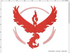 Pokemon Go Team Valor Moltres machine embroidery design 4 inch Embroidering Machine, Pokemon Go Team Valor, Machine Embroidery Designs, Symbols, Stitch, Sewing, Crafts, Lights, Inspired