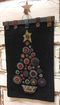 PLEASE NOTE - this is a Pattern for PENNY CHRISTMAS TREE & not a finished mat. WOOL PENNIES !! does anything else really need to be said ?? LOL This is truly a stand-out piece for your home or shop :) Shown here in a Black background and a Cream background..... the perfect project to