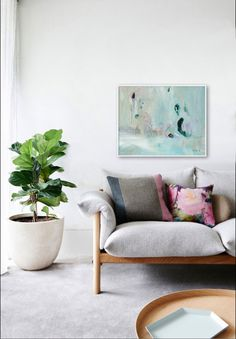 """Large mint green, dark green and pastel colours abstract Giclée PRINT of original ABSTRACT painting """"The Morning"""" Pastel Colors, Colours, White Colors, Modern Furniture, Home Furniture, Painted Sofa, Giclee Print, Art Print, Modern Contemporary"""