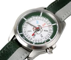Miansai - M1 Automatic Watch in Hunter Green with Hunter Green and Grey Striped Leather Nato Band