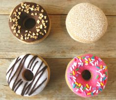 Felt Food Donut with Pink Icing and Sprinkles by milkfly on Etsy