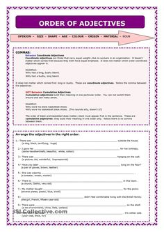 THE ORDER OF ADJECTIVES | MCAS | Pinterest | English, Worksheets ...