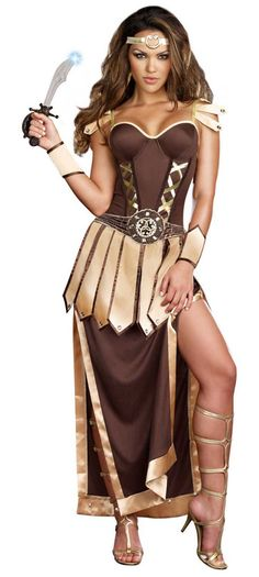 Trojan Warrior Gladiator Ladies Costume - Calgary, Alberta. This is a gorgeous gladiator warrior costume and perfect for Halloween, a 300-themed party or other historical costume parties.  This is a Remember the Trojans female gladiator costume. Add some sex appeal to your Roman warrior.  This is a six-piece Gladiator warrior costume with a dress, detachable skirt/cape, gauntlets headband and sword. The dress has a low, sweetheart neckline and adjustable spaghetti straps.