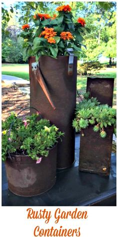 Learn how to use Rusty Garden Containers in your garden. http://www.Gardenchick.com