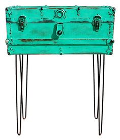 Repurposed Wood  Metal Green Trunk Storage Suitcase with Hairpin Iron Metal Wire Legs Table of Recycled Found Industrial Objects