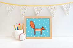 Printable art - illustration download - fox printable - animal - orange and blue -  kids room art - whimsical nursery decor - pinned by pin4etsy.com