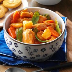 Slow Cooker Sweet-and-Sour Chicken Recipe -I use my slow-cooker to fix this stir-fry like supper. Adding the onions, pineapple and snow peas later in the process keeps them from becoming over-cooked. —Dorothy Hess, Hartwell, Georgia
