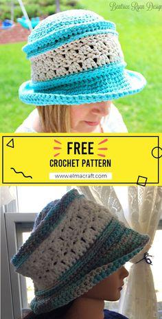 Crochet Hat Sizing, Crochet Hat With Brim, Crochet Summer Hats, Easy Crochet Stitches, Crochet With Cotton Yarn, Crochet Purse Patterns, Crochet Beanie Hat, Free Crochet, Crochet Hats