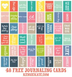 48 Free Printable 3x4 Journaling Cards from kensiekate.com