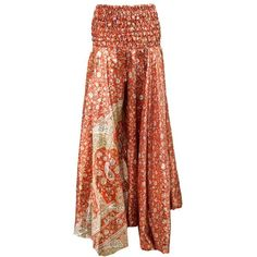 Women's Skirt Red Floral Vintage Silk Sari Swirling Divided Maxi Skirt ($22) ❤ liked on Polyvore featuring skirts, red floral skirt, long silk skirt, floral maxi skirt, silk skirt and floral print maxi skirt