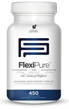 TRIPLE STRENGTH GLUCOSAMINE Sulfate 1500 mg - CHONDROITIN Sulfate 1200 mg - MSM 2000 mg PER SERVING- 450 Capsules Per Bottle- FlexiPure Advanced Joint Support Helps With ARTHRITIS PAIN, Supports HEALTHY And FLEXIBLE Joints and Connective Tissue. Nature http://www.amazon.com/dp/B00I828IWE/ref=cm_sw_r_pi_dp_4WDUub0GD1F4P