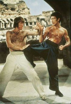 Bruce Lee and chuck norris,chuck a karate man,plays great part in this film,love scene were bruce breaks his leg.