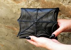 Spider web makeup bag or purse, faux leather, vegan bag