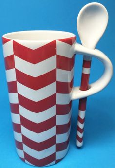 Starbucks Chevron Pattern Coffee Mug Cup Spoon Red White